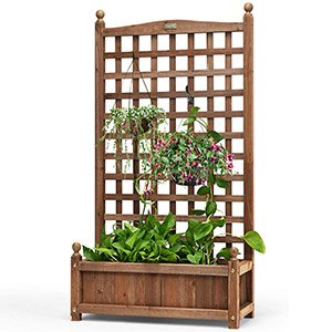 Giantex Free-Standing Raised Planter Bed with Trellis